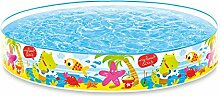Planschbecken großer Kinderpool Basseng mit festen Seitenwänden und hochwertigem Aufdruck Beach Farbenfroh Ø 152 x 25 cm • Badebasseng Kinderpool Kinderbecken Kinderplanschbecken inklusive Reparaturflicken