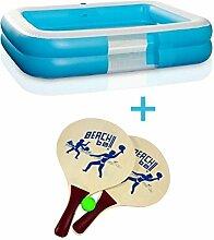 PLANSCHBECKEN POOL SCHWIMMBECKEN Swimmingpool blau Kinder + Beachball-Spiel ~sb 89+ J