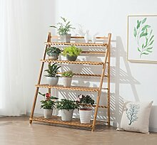 Plant Flower Stand Rack Regal 3-4 Tier Bambus faltbare Topf Racks Planter Organizer Display Regale ( Farbe : 4 layers 50cm )
