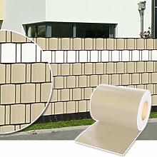 Plantiflex Sichtschutz Rolle 35m blickdicht PVC Zaunfolie Windschutz für Doppelstabmatten Zaun (Creme)