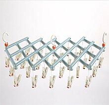 Plastik 29 Clip Roller Trockenregale Winddichte Portable Faltbare Teleskop Multifunktions Kreative Magic Hangers , blue