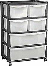 Plastik breit Tower Aufbewahrungsschrank mit Rollen–104Liter. 6Schubladen. Schwarz.
