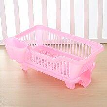 Plastik - Küche Regal Rack Wasser Abtropfen Regale Schüssel Regal Lager Regale Schrank Rack,Pink