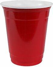 Plastikbecher / Kunststoffbecher / Getränkebecher, 340 ml, Rot, 50 Stück