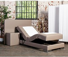 Platinum inkl. Motor Boxspringbett Hotelbett Amerikanisches Bett Designbett (90x200, Kunstleder Braun)