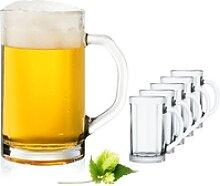 PLATINUX Bierglas Bierseidel, Glas, mit Henkel Set