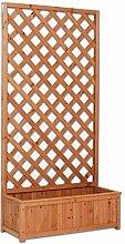 Platte aus Holz rechteckig mit Blumenkübel a Netz Außenbeleuchtung Garten Zäune Raumteiler 90x 180cm EV