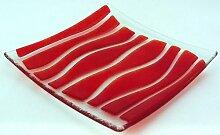 Platte / Teller aus Glas - handarbeit in rot 20X20