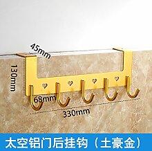 Platz Aluminium Tür Hook Nagel - Nahtlose kreative Tür Kleiderhaken Kleiderbügel Kleiderhaken an der Tür von Punch, Lokale gold