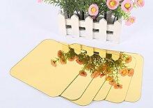 Platz Spiegel Kachel Wand Sticker 3D-Aufkleber Mosaik Home Dekoration DIY für Wohnzimmer Veranda 6 Stück neu, Gold