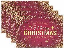 Platzdeckchen für Weihnachten, Neujahr, Rot,