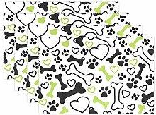 Platzdeckchen mit Hundeknochen und Herzen,