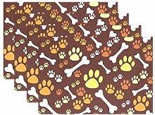 Platzdeckchen mit Hundepfoten-Motiv, rutschfest,