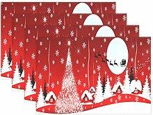 Platzdeckchen mit rotem Weihnachtsbaum, Schnee,