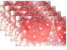 Platzdeckchen mit Schneeflocken-Motiv und Baum, 8