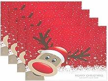 Platzdeckchen mit weihnachtlichem Rentier-Motiv,