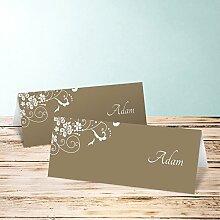 Platzkarte Hochzeit, Garten der Träume 70 Karten, Horizontale Klappkarte 100x38, Braun