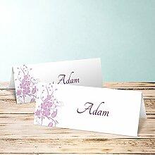 Platzkarten Hochzeit, Sophias Garten 100 Karten, Horizontale Klappkarte 100x38, Lila
