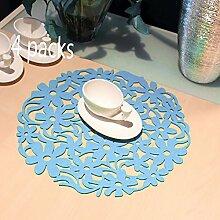 Platzmatten, woopower Set von 430x 30cm rund Laser Cut Flower Design Filz-Platzsets Küche Abendessen Tisch MATS Cup Untersetzer hellblau