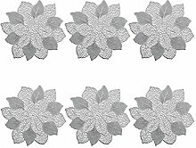 Platzset 'Flower', 6er Set, PVC, Silber