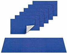 Platzsets Tischläufer Tischmatte Tischdecke, moderne Tischdeko in vielen verschiedenen Farben erhältlich (blau - mittelblau / 1x Tischläufer + 6x Platzsets)