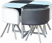 Platzsparender Glastisch mit 4Stühlen, im