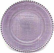 Platzteller aus Glas, Kreuzstichmuster, 33 cm, mit