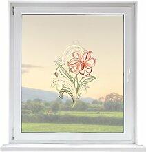 PLAUENER SPITZE Fensterbild Blume, ca. 29x23 cm