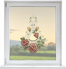PLAUENER SPITZE Fensterbild Blume, ca. 31x22 cm