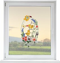 PLAUENER SPITZE Fensterbild Frühling, ca. 40x21 cm