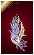 Plauener Spitze Fensterbild Gladiole (Bx H) 17cm *