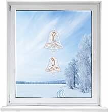 PLAUENER SPITZE Fensterbild Glocken, ca. 44x18 cm