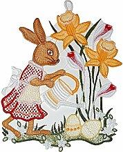 Plauener Spitze Fensterbild Ostern Osterhase