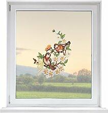 PLAUENER SPITZE Fensterbild Vögel, ca. 30x21 cm