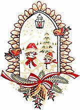 Plauener Spitze Fensterbild Weihnachten Schneemann