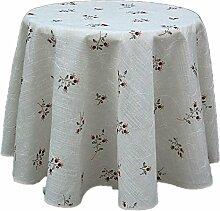Plauener Spitze Tischdecke rund 170 cm Leinenoptik