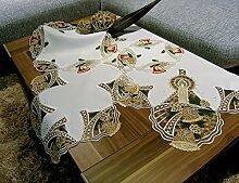 Plauner Spitze 13,3 x 13,3 cm, Spitze ist heute Tischdecke, Creme/Rot/Gold