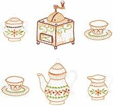Plauner Spitze Kaffee Set Christbaum Anhänger, Dekoration, 6 Stück, Blau/Braun