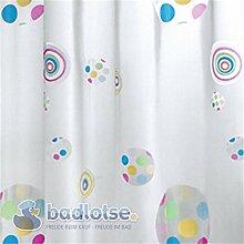 PLAY Duschvorhang Vinyl 180 x 200 cm weiß/gelb/pink/blau/grün bunt Retro Kreise