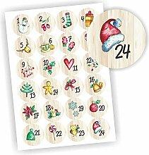 Play-Too 24 Aufkleber Adventskalender Zahlen Fest