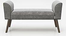 PLAYBOY Sitzbank mit Samtüberzug in Grau und