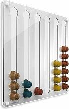 Plexidisplays 1103003 Wand-Kapselhalter für Nespresso-Kapseln, Design Wasserfall, 41 x 40 cm, Weiss