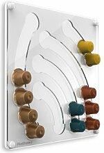 Plexidisplays 1303111 Wand-Kapselhalter für Nespresso-Kapseln, Design Wasserfall Mini, 29 x 29 cm, weiß