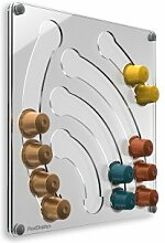 Plexidisplays 1303113 Wand-Kapselhalter für Nespresso-Kapseln, Design Wasserfall Mini, 29 x 29 cm, transparen