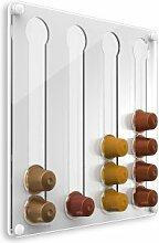 Plexidisplays 1303121 Wand-Kapselhalter für Nespresso-Kapseln, Design Klassik Mini, 29 x 29 cm, weiß
