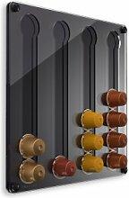 Plexidisplays 1303122 Wand-Kapselhalter für Nespresso-Kapseln, Design Klassik Mini, 29 x 29 cm, schwarz