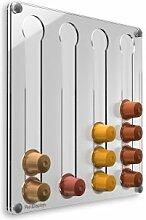Plexidisplays 1303123 Wand-Kapselhalter für Nespresso-Kapseln, Design Klassik Mini, 29 x 29 cm, transparen