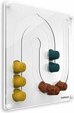 Plexidisplays 1303131 Wand-Kapselhalter für Nespresso-Kapseln, Design Juhu Mini, 29 x 29 cm, weiß