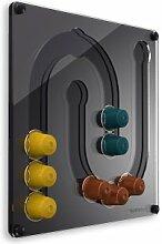 Plexidisplays 1303132 Wand-Kapselhalter für Nespresso-Kapseln, Design Juhu Mini, 29 x 29 cm, schwarz