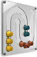 Plexidisplays 1303133 Wand-Kapselhalter für Nespresso-Kapseln, Design Juhu Mini, 29 x 29 cm, transparen